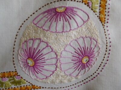 Vintage Hand-Embroidered Linen Tablecloth
