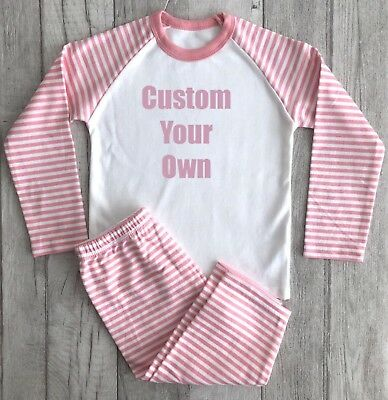 PRINCESS PERSONALISED PYJAMAS GIFT, Light Pink Glitter Custom Pink and White PJs