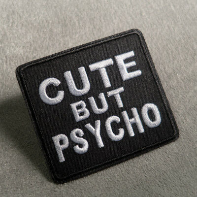 Cute But Psycho Embroidered Sew On Iron On Patch Badge Fabric Applique Transfer