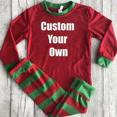 PERSONALISED PYJAMAS CHRISTMAS GIFT, White Glitter Custom Red and Green PJs
