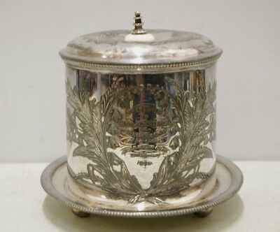 Antique Vintage Silver Plated Lidded Biscuit Box Presented To Ms Armstrong 1879
