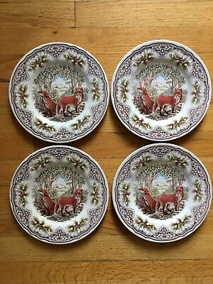 Set of 4 - Fox Woodland Salad Dessert Plates NEW Queen's England