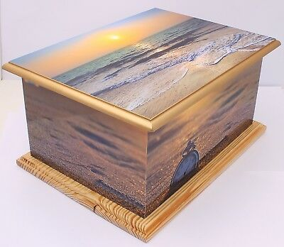 Adult MDF & Wood Ashes Urn Large Cremation Funeral memorial Beach Sunset Casket
