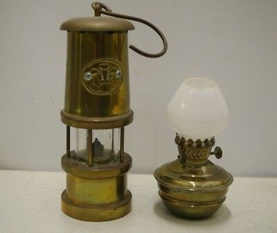 2 Vintage Brass Oil Lamps 1 With Glass Shade 1 Miniature Paraffin Miner's Lamp