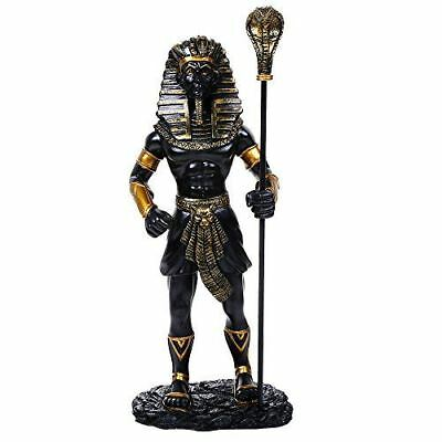 """Ancient Egyptian 11.75"""" Tall King Tut With the King Cobra Sceptre Figurine (B&G)"""