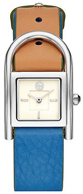 2492217bff0c Tory Burch TBW7501 Thayer Cream Dial Blue Leather Strap Women s Watch