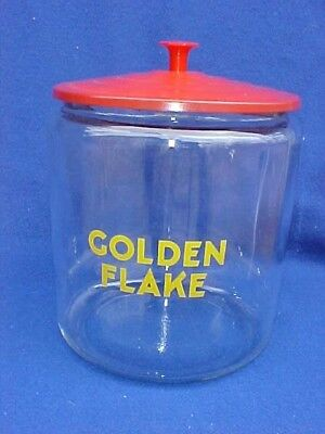Vintage original Golden Flake Peanut Jar w/ Tin Lid, Tom's Store Lance Gordon's