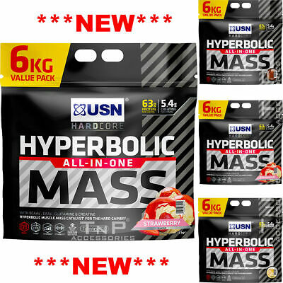 USN Hyperbolic Mass All In One Weight Gainer 6KG Muscle Fuel Gain Anabolic