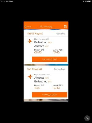 Easyjet flight tickets from Belfast to Alicante 3 Aug, return 10 Aug - 2 ad 1 ch