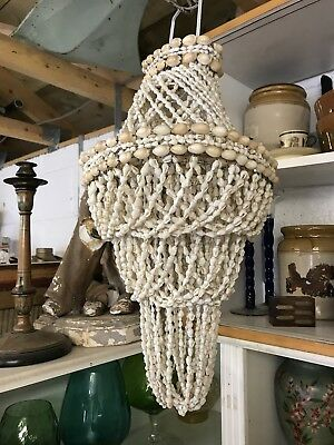 Vintage Bohemian Ceiling Light Chandelier Shade Made From Sea Shells