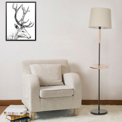 Modern LED Floor Lamp Standing With Storage Tray Light Fabric Shade  Home Office