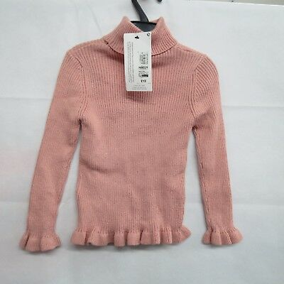 Marks And Spencer M&S Kids Girls Jumper Ages 3-4 Years Pink Ruffle Sparkle New