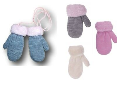 Baby Girl Toddler Winter Warm Mittens Gloves With String Fun Fur Size 9-18Months