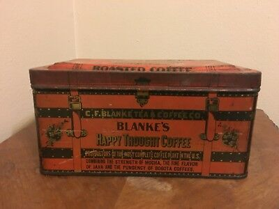 Vintage C.F. Blanke's Roasted Coffee Happy Thought Tin
