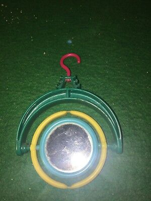Vintage Bird Cage Toy Mirror For Budgie Or Parakeet From The Fifties Plastic