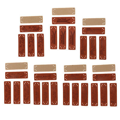 20pcs Retro PU Leather Labels 'Hand Made' Sew On Garment Clothing Label Tags