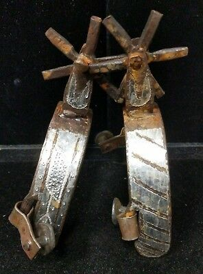 1 Pair Used Antique Vintage Spurs Rustic Southwestern Cowboy Metal Detail A4-8