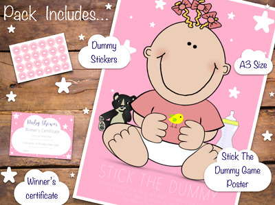Pin The Dummy On The Baby - Shower Party Game - New Pink Girl Design - 20 Player