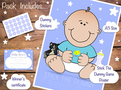Pin The Dummy On The Baby - Shower Party Game - New Blue Boy Design - 20 Players