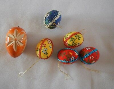 5 VTG Colorful Cloth Eggs and 1 Carved Wood Egg Ornaments Easter Spring