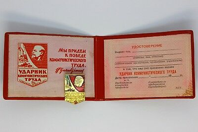 USSR Badge Icon Medal Udarnik of communist labor Lenin with document Certificate