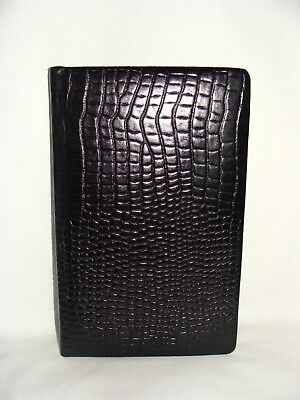 Vintage Old Black Croc Embossed Cowhide Leather Unused A-Z Address Phone Book!