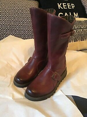 6a6e8b8ed1b FLY LONDON MES 2 Womens Mid Calf Wedge Zip Up Leather Boots Size UK 6