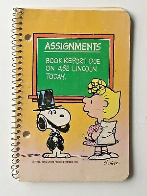 Vintage Peanuts Snoopy Spiral Notebook Assignment 1965 Plymouth School Supplies