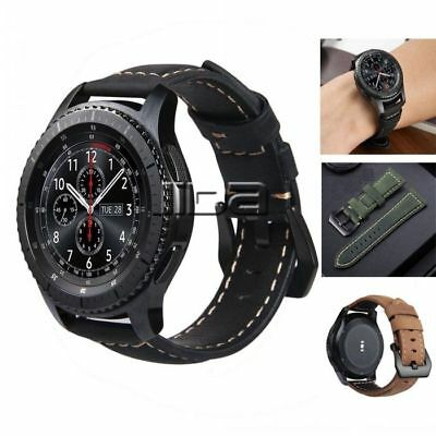 For Samsung Galaxy Wacth  Replacement Strap Genuine Leather wrist band 42mm 46mm