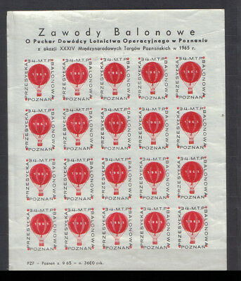 Poland 1965 Poznan Balloon Mail complete sheet of 20 unmounted mint
