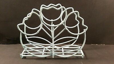 Vintage Coated Wire Tulip Napkin Holder Baby Blue footed retro