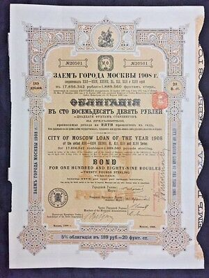 VINTAGE 1908 City of Moscow Loan Bond - 189 Roubles or 20# Sterling - NICE!