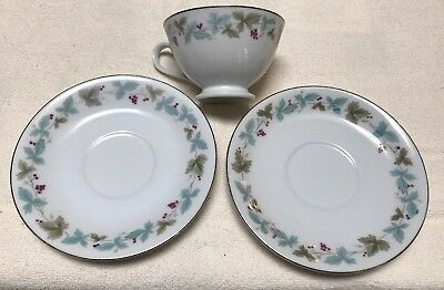 Fine China of Japan Vintage Tea Cup And Two Saucers 6701 Leaves Grapes Nice