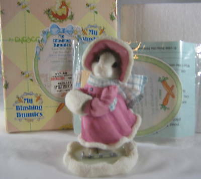 Enesco My Blushing Bunnies Love Will Never Let You Fall Girl Ice Skating w/ Box