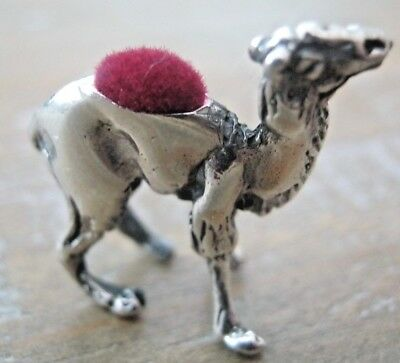 Novelty Edwardian Style Solid Sterling Silver Camel Dromedary Pin Cushion - Red
