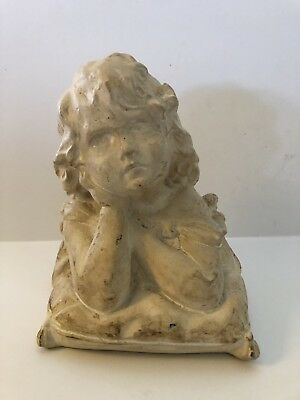 Vintage Chalkware Little Girl Bust Statue Heavy