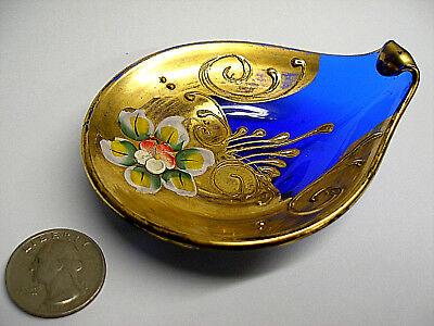 Vintage Venetian Cobalt Blue Art Glass Tray Bowl Hand Painted Enamel & Gold Gilt