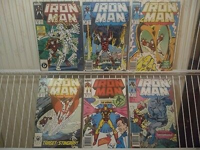 Iron Man Vol 1#221-223,226,235,236. High to nm, marvel copper age.