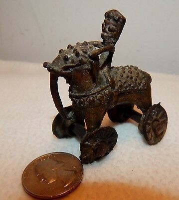 Vintage Brass Elephant on Wheels with Rider Toy / India ??