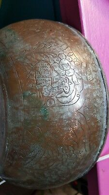 Antique Arabic Brass Bowl Middle Eastern Old Bronze Iran Islamic Persian Quran