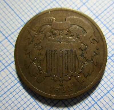 US 1864 2 Cent Coin - Two cents 2c Civil War era