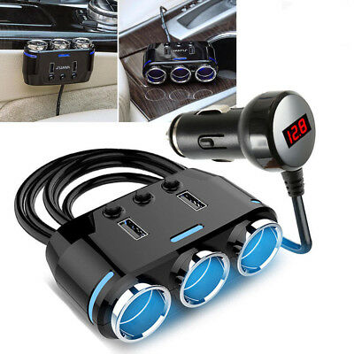 12V 24V 3 Way Car Lorry Cigarette Lighter Multi Socket USB Charger Adaptor UK