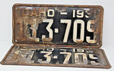 1931 IDAHO License Plate Collectible Antique Vintage 113-709 Matching Pair Set