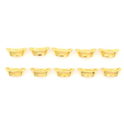 10pcs Chinese Gold Ingot Fengshui Yuanbao Ornament Decor For Fortune Wealth As
