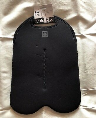 BUILT NY Two-Bottle BLACK Neoprene WINE Water TOTE BAG Isolated Carrier new tags