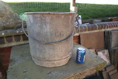 Old Vintage Antique Large Galvanised Tin Bucket Planter Log Coal Store Display