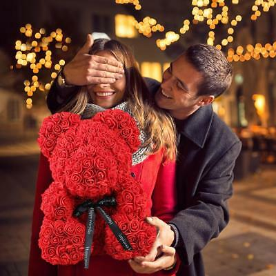 Red Rose Bear Flower Teddy For Girlfriend Wedding Birthday Valentine's Day Gifts