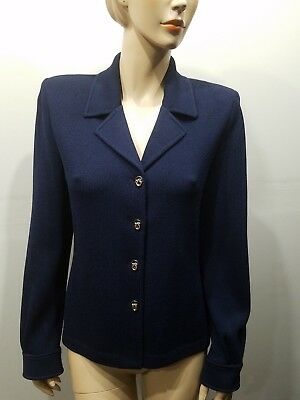 ST JOHN Collection By Marie Gray Size 10 Navy Blue Blazer Jacket Santana Knit