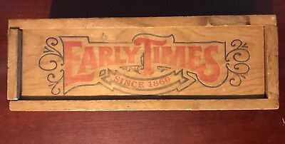 Vintage Advertising Early Times Whiskey Since 1860 Wooden Box With Sliding Lid