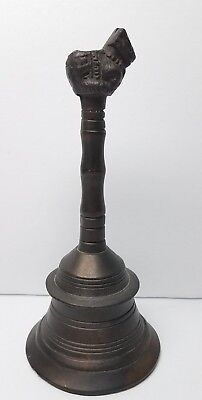 Antique Hindu God Nandi Cow Temple Bronze Or Brass Pooja Hand Bell